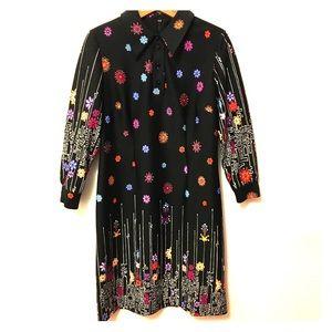 Vintage Flower Power Dress Vibrant Pointy Collar